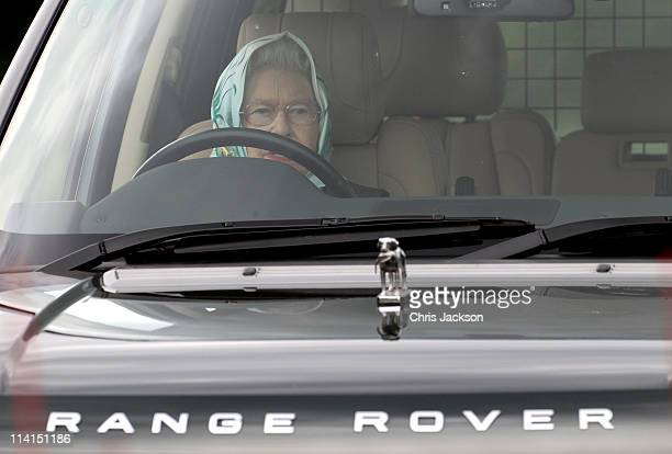 Queen Elizabeth II drives her Range Rover as she attends Windsor Horse Show on May 12 2011 in Windsor England