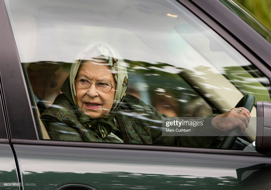 Queen Elizabeth II driving her Range Rover around the Windsor Horse Show on May 13, 2017 in Windsor, England. (Photo by Mark Cuthbert/UK Press via Getty Images)