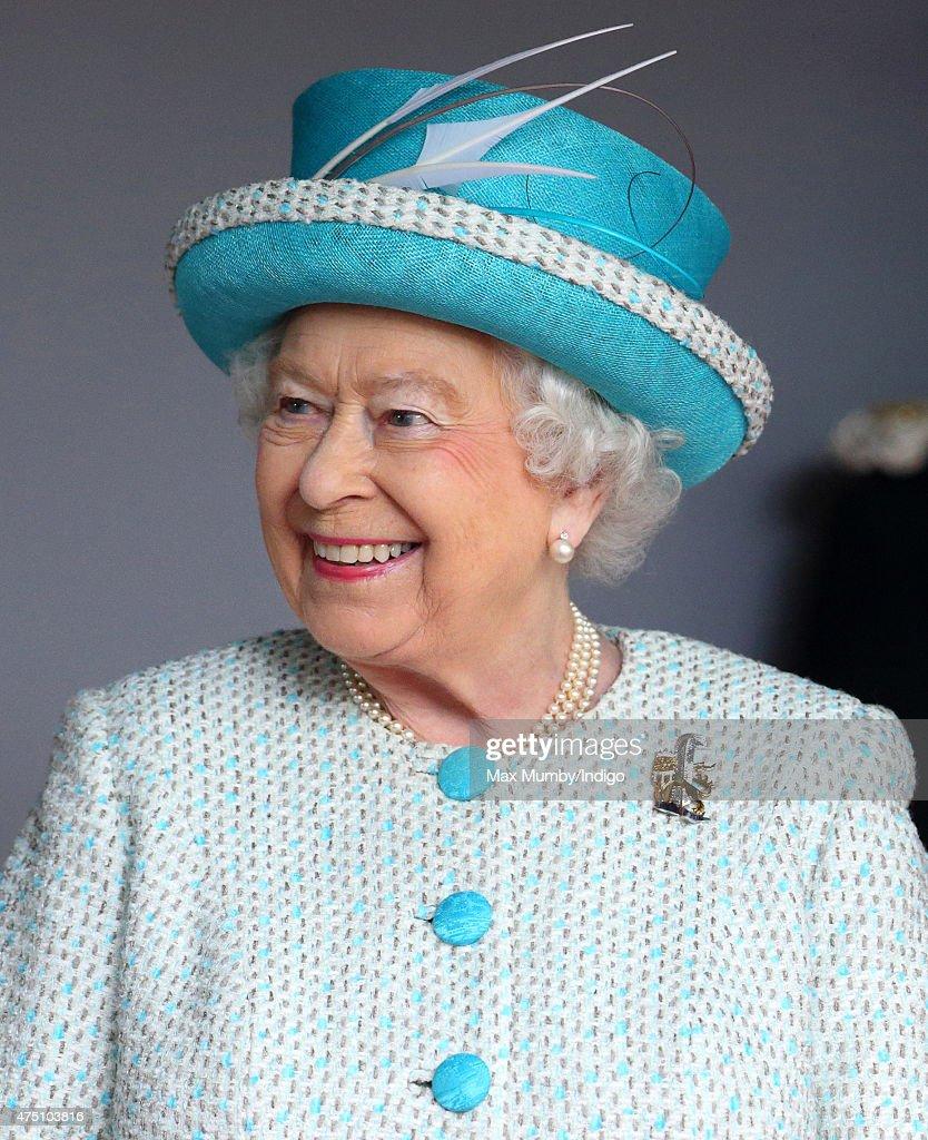 Queen Elizabeth II Duke of Lancaster visits Lancaster Castle on May 29 2015 in Lancaster England