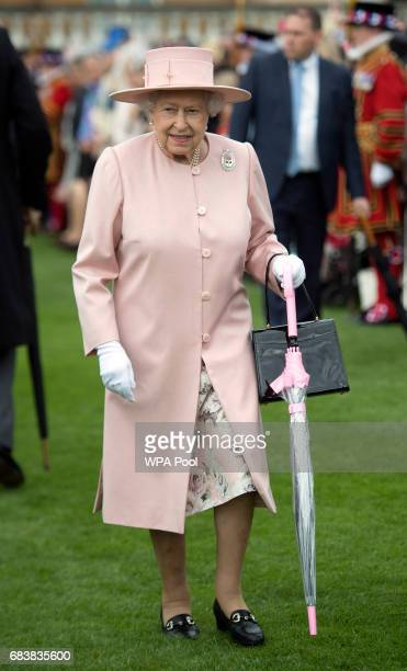 Queen Elizabeth II during a garden party at Buckingham Palace on May 16 2017 in London England