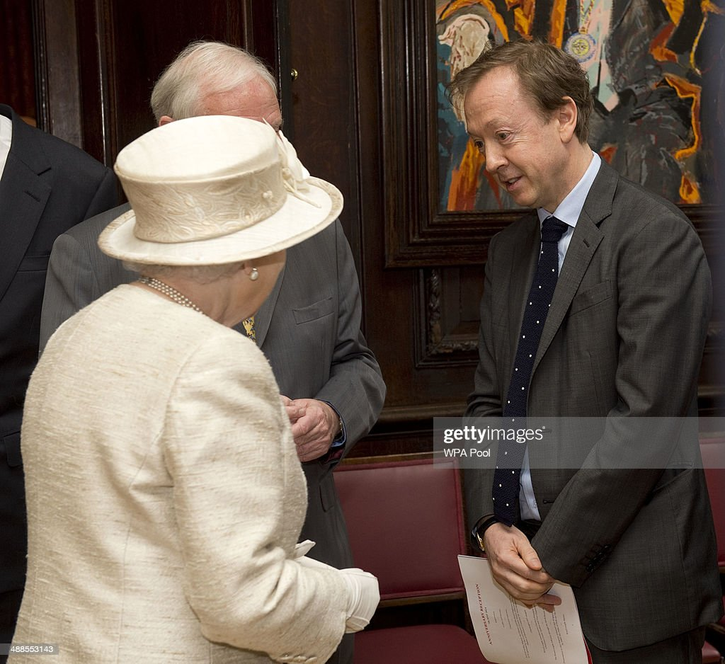 Queen Elizabeth II during a visit to the Journalists' Charity at the Stationers' Hall on May 7, 2014 in London, England. They were met by Lord Rothermere, President, Journalists' Charity and Mr Tom Hempenstall, Master of Stationers' Company, they also met senior media executives, journalists, industry figures and sponsors.