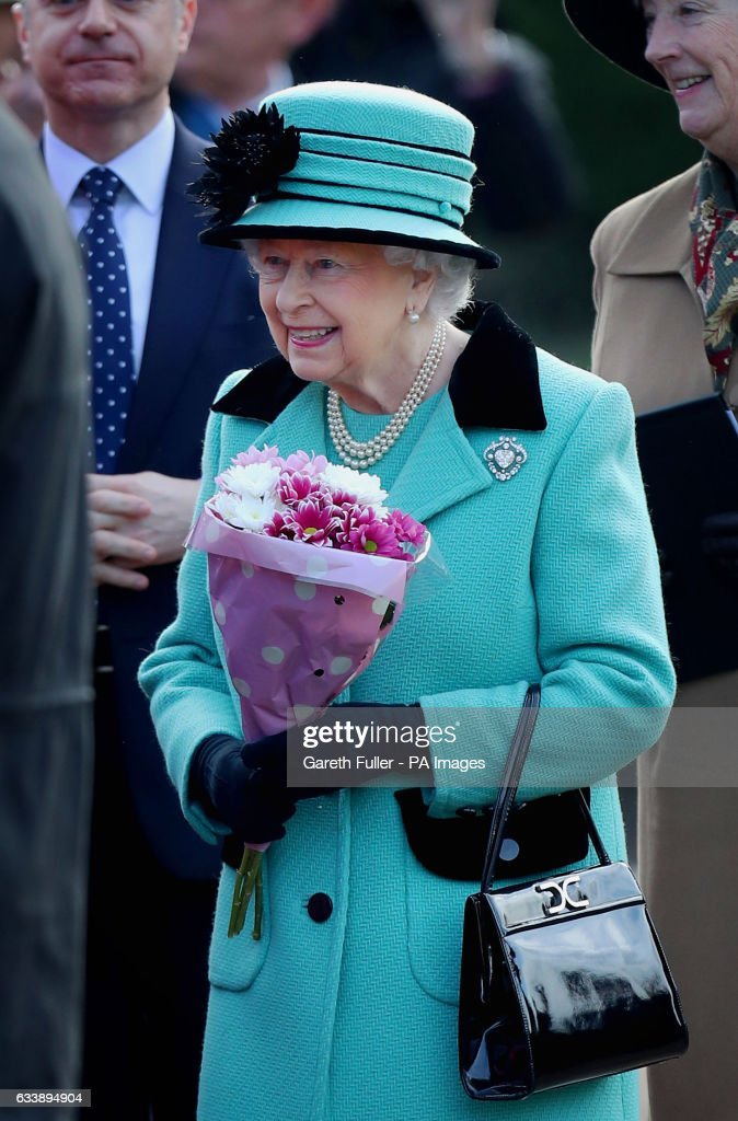 Queen Elizabeth II during a walkabout after a church service at St Peter and St Paul West Newton in Norfolk, as the Queen is to make history when she becomes the first British monarch to reach their Sapphire Jubilee.