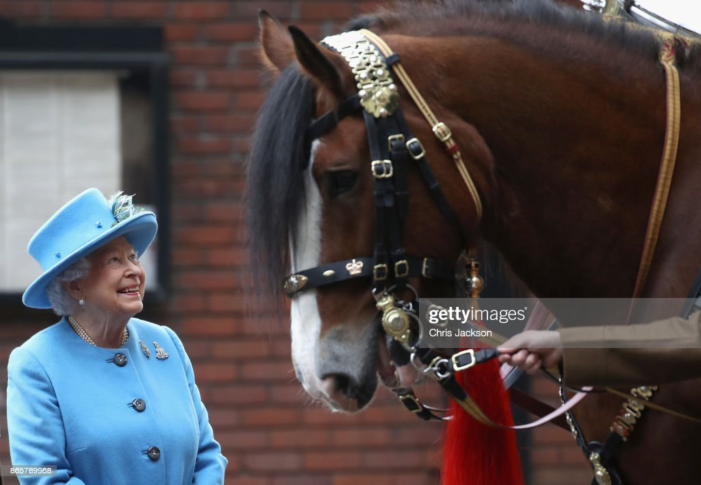 Queen Elizabeth II during an official visit to the Household Cavalry Mounted Regiment at Hyde Park on October 24, 2017 in London, England.