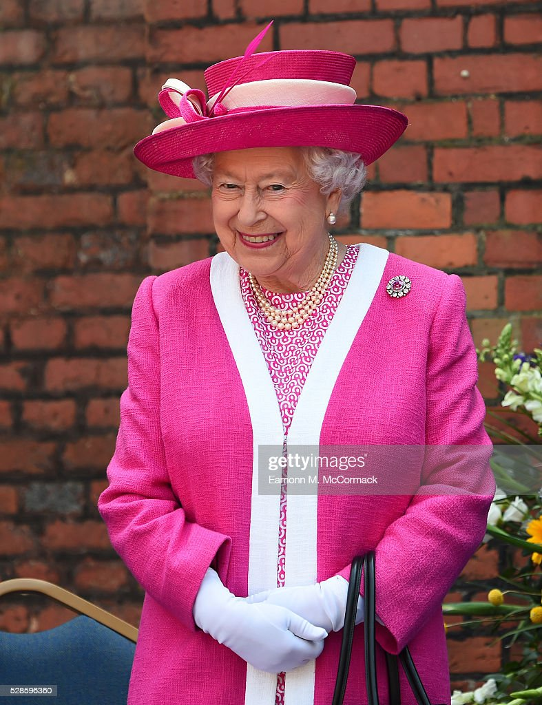 Queen Elizabeth II during her visit to Berkhamsted School as part of the school's 475th Anniversrary celebrations on May 6, 2016 in Berkhamsted, England.