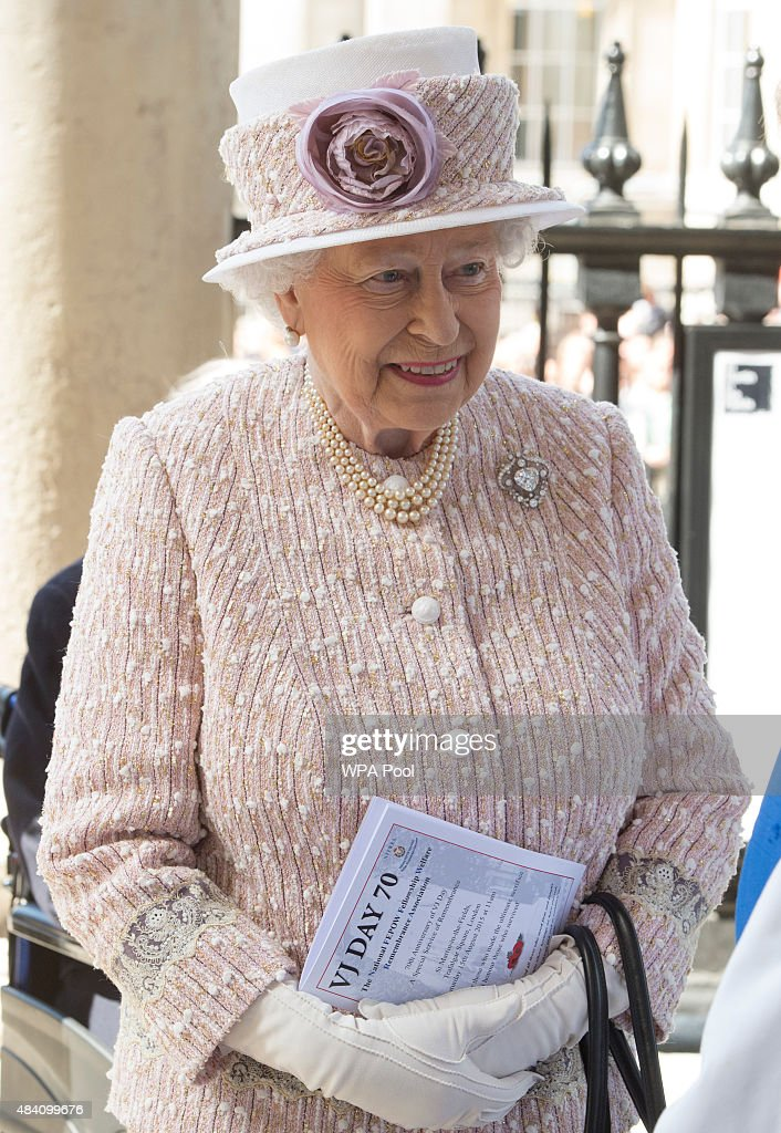 Queen <a gi-track='captionPersonalityLinkClicked' href=/galleries/search?phrase=Elizabeth+II&family=editorial&specificpeople=67226 ng-click='$event.stopPropagation()'>Elizabeth II</a> during the 70th Anniversary commemorations of VJ Day (Victory over Japan) at St Martin-in-the-Fields Church on August 15, 2015 in London, England. The event marks the 70thanniversary of the surrender of Japanese Forces, bringing about the end of World War II. Queen <a gi-track='captionPersonalityLinkClicked' href=/galleries/search?phrase=Elizabeth+II&family=editorial&specificpeople=67226 ng-click='$event.stopPropagation()'>Elizabeth II</a> and Prince Philip, Duke of Edinburgh will join British Prime Minister David Cameron and former prisoners of war during services throughout the day as tributes are made to the the estimated 71,244 British and Commonwealth casualties of the Far East conflict. Japan formally surrendered on September 2, 1945 at a ceremony in Tokyo Bay on USS Missouri.
