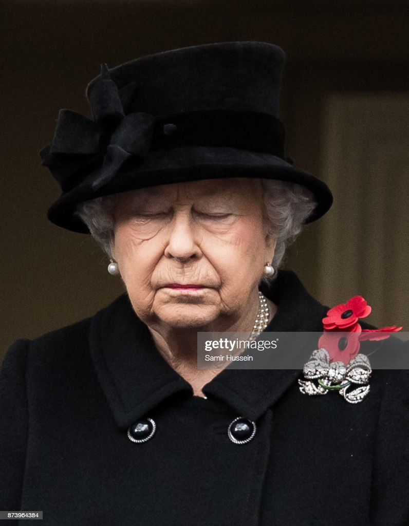 Queen Elizabeth II during the annual Remembrance Sunday Service at The Cenotaph on November 12, 2017 in London, England.