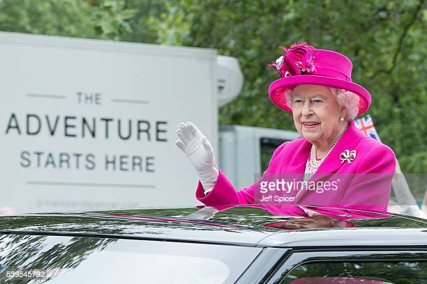 Queen Elizabeth II during 'The Patron's Lunch' celebrations for The Queen's 90th birthday at The Mall on June 12 2016 in London England
