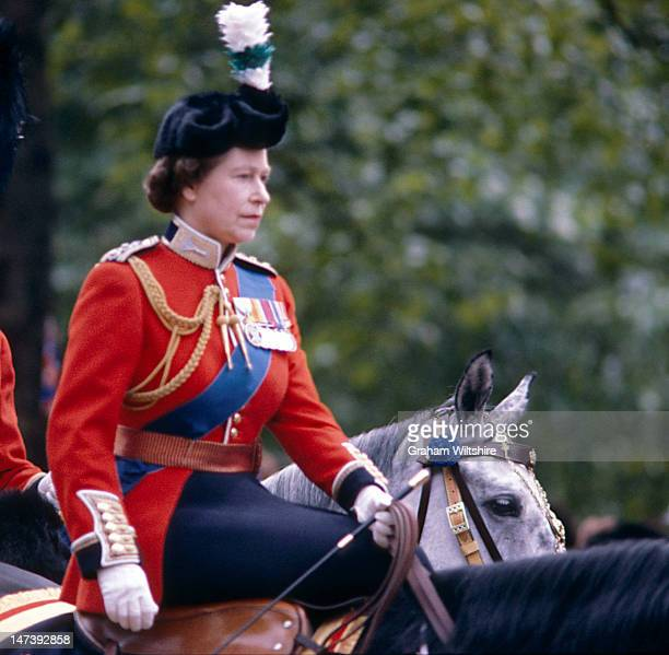 Queen Elizabeth II during the Trooping the Colour ceremony circa 1981