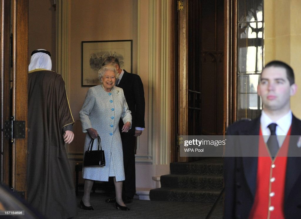 Queen <a gi-track='captionPersonalityLinkClicked' href=/galleries/search?phrase=Elizabeth+II&family=editorial&specificpeople=67226 ng-click='$event.stopPropagation()'>Elizabeth II</a> enjoys a light moment with the Amir of the State of Kuwait on his departure from Windsor Castle on November 29, 2012 in Windsor, England. The Amir has been on a three day State visit to the United Kingdom.