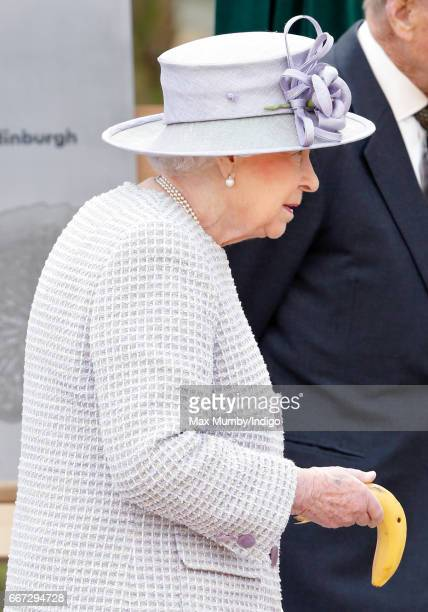 Queen Elizabeth II feeds a banana to Donna a 7 year old Asian Elephant as they open the new Centre for Elephant Care at ZSL Whipsnade Zoo on April 11...