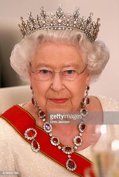 Queen Elizabeth II gives a speech during a State Banquet at the Schloss Bellevue Palace on the second day of a four day State Visit on June 24 2015...