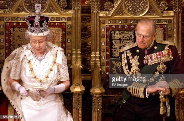 Queen Elizabeth II gives her speech during the State Opening of Parliament beside her husband Prince Philip in the House of Lords The queen made her...