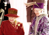 Queen Elizabeth II greets Danish Queen Margrethe of Denmark at Windsor Castle on February 16 2000 in Windsor England