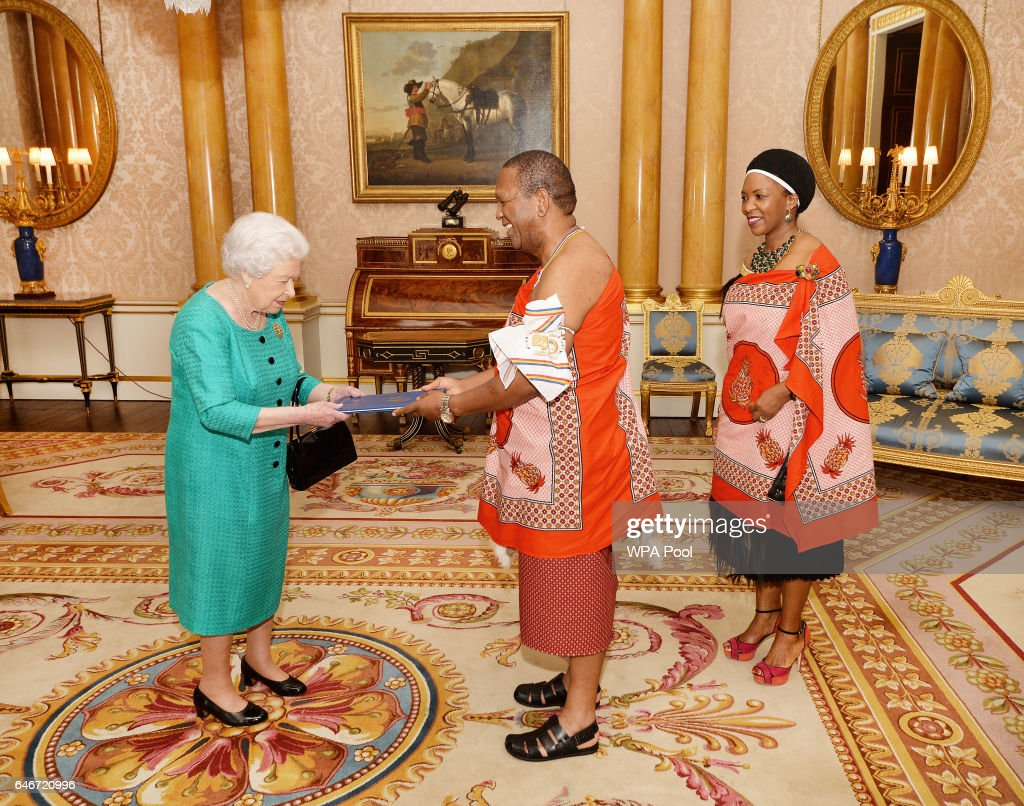 Queen Elizabeth II greets His Excellency Mr Christian Muzie Nkambule the High Commissioner of Swaziland, as he presents his Letters of Credence and was accompanied by Mrs Nkambule during a private audience at Buckingham Palace on March 1, 2017 in London, England.