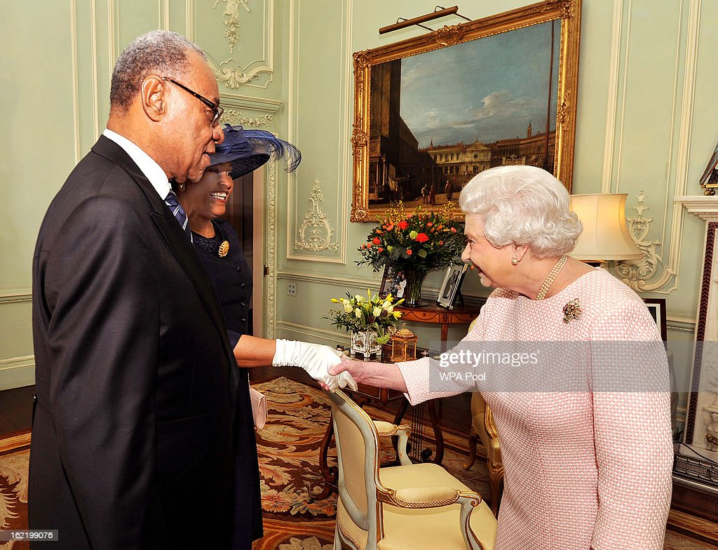Queen <a gi-track='captionPersonalityLinkClicked' href=/galleries/search?phrase=Elizabeth+II&family=editorial&specificpeople=67226 ng-click='$event.stopPropagation()'>Elizabeth II</a> greets His Excellency the High Commissioner of the Bahamas Mr Eldred Bethel and his wife Dawne as they arrive for a private audience with Her Majesty, at Buckingham Palace on February 20, 2012 in London, England.