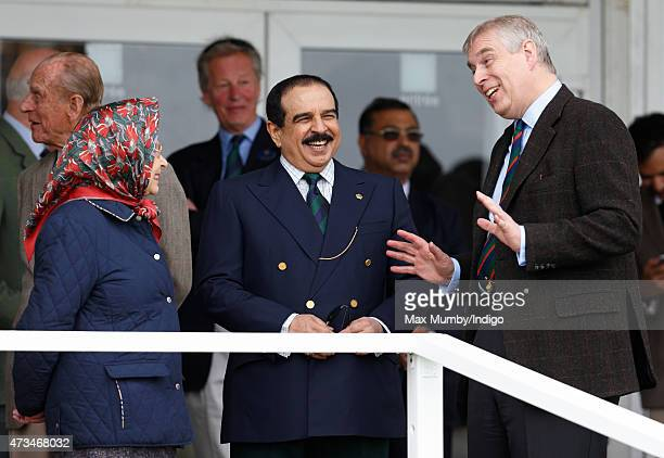Queen Elizabeth II Hamad bin Isa AlKhalifa King of Bahrain and Prince Andrew Duke of York attend the Endurance event on day 3 of the Royal Windsor...
