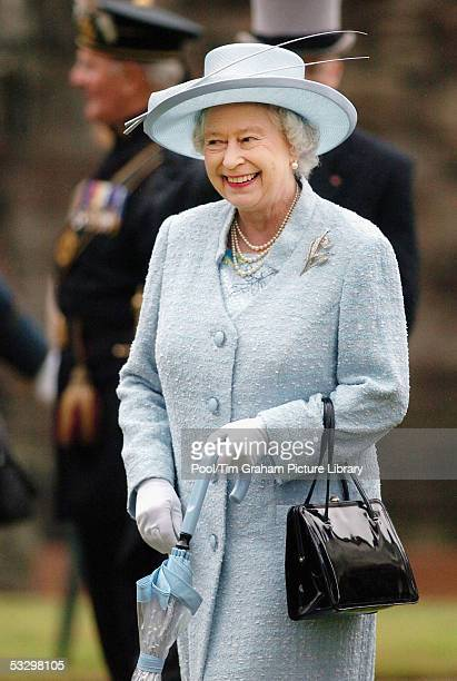 Queen Elizabeth II hosts a garden party at the palace of Holyroodhouse on July 28 2005 in Edinburgh Scotland