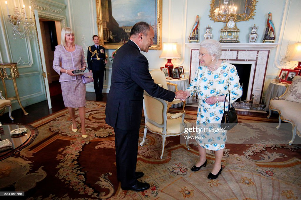 Queen Elizabeth II hosts Lieutenant General Sir Jerry Mateparae the governor-general of New Zealand and Lady Mateparae for lunch at Buckingham Palace on May 25, 2016 in London, England.