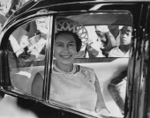 Queen Elizabeth II in a car during her Commonwealth tour of the Far East and Kenya FebruaryMarch 1972