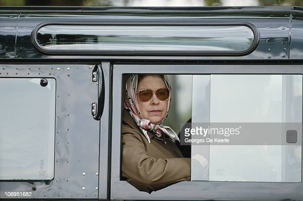Queen Elizabeth II in a Land Rover during the Royal Windsor Horse Show at Windsor Home Park Berkshire 16th May 1987