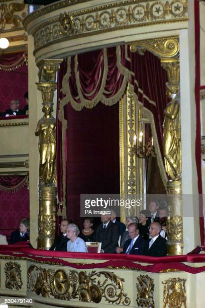 Queen Elizabeth II in a pale blue dress in the box at La Scala Opera House Milan to see a performance of In The South by Edward Elgar Riccardo Muti...