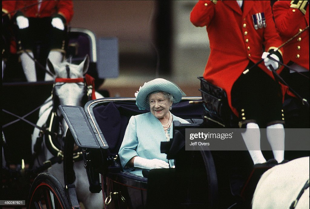Queen Elizabeth II in horse drawn carriage during Trooping the Colour.