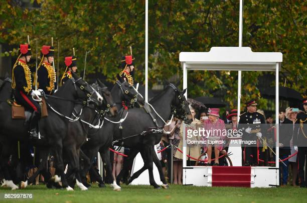 Queen Elizabeth II in Hyde Park in London to mark the 70th anniversary of the King's Troop Royal Horse Artillery