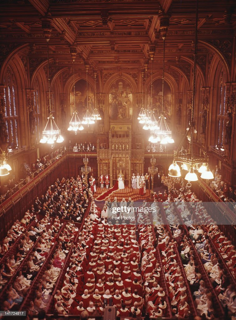 Queen Elizabeth II in the House of Lords London during the State Opening of Parliament 3rd November 1964