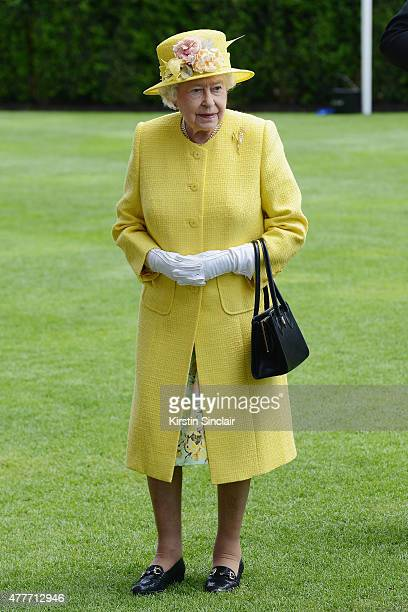 Queen Elizabeth II in the Parade Ring as she attends Royal Ascot 2015 at Ascot racecourse on June 19 2015 in Ascot England
