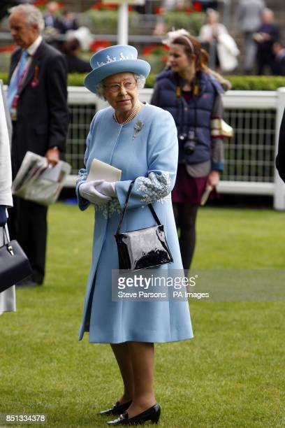 Queen Elizabeth II in the parade ring before the Diamond Jubilee Stakes during day five of the Royal Ascot meeting at Ascot Racecourse Berkshire