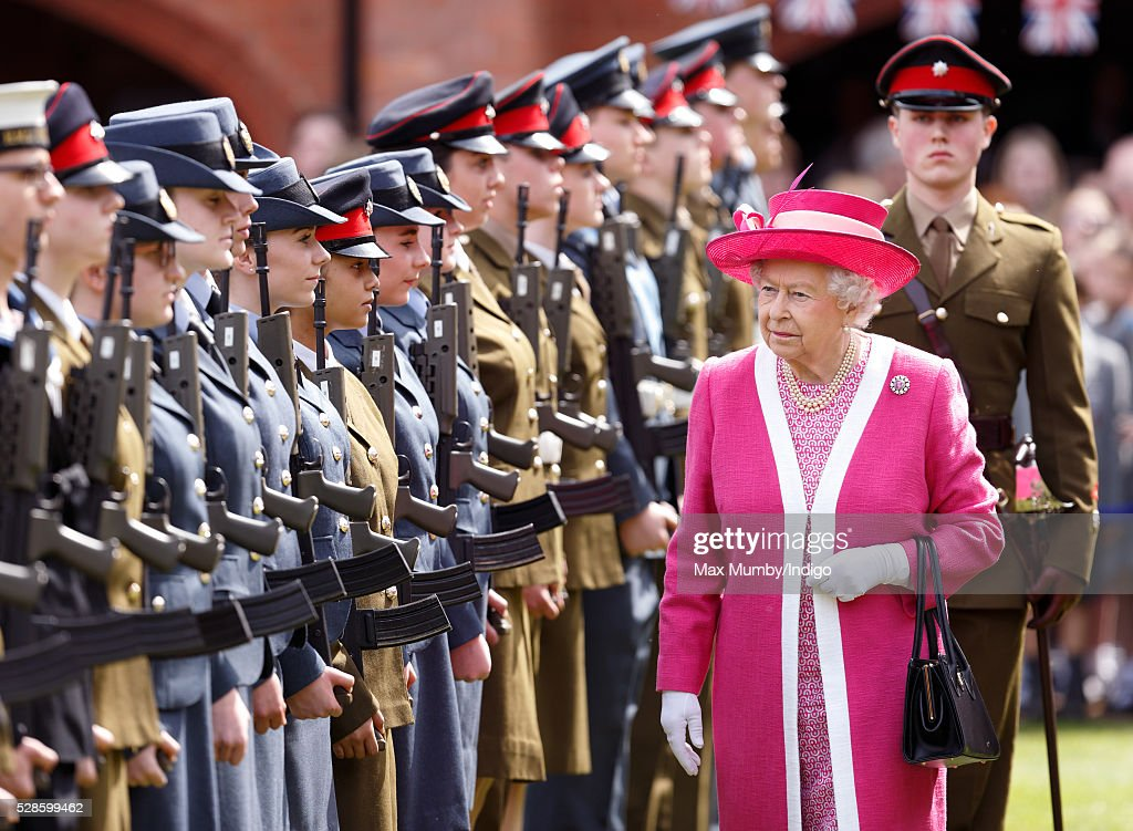 Queen Elizabeth II inspects a Combined Cadet Force Guard of Honour as she visits Berkhamsted School on the occasion of the 475th Anniversary of its foundation on May 6, 2016 in Berkhamsted, England.