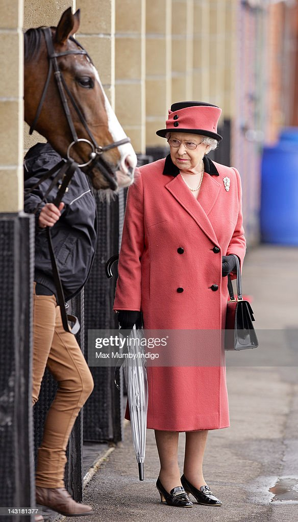 Queen <a gi-track='captionPersonalityLinkClicked' href=/galleries/search?phrase=Elizabeth+II&family=editorial&specificpeople=67226 ng-click='$event.stopPropagation()'>Elizabeth II</a> inspects her horse 'Sequence' prior to it racing as she attends the Dubai Duty Free Race Day at Newbury Racecourse on April 20, 2012 in Newbury, England.
