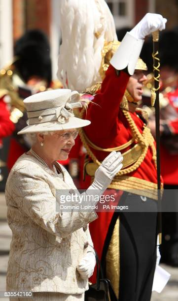 Queen Elizabeth II inspects members of the Gentlemen at Arms in Colour Court at St James's Palace London as part of a parade to mark the 500th...