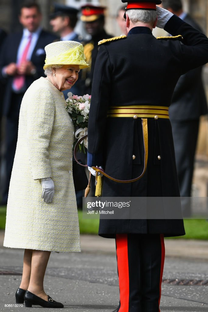 Queen Elizabeth II inspects the guard of honour, Balaklava Company, The Argyll and Sutherland Highlanders, 5th Battalion The Royal Regiment of Scotland during the traditional Ceremony of the Keys at Holyroodhouse on July 3, 2017 in Edinburgh, Scotland. The Queen will undertake various engagements in Edinburgh during the annual 'Holyrood week'.