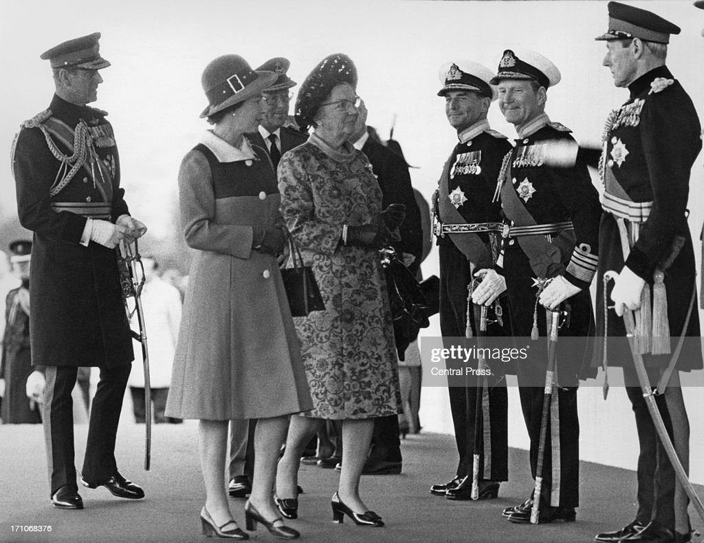Queen Elizabeth II introduces Queen Juliana of the Netherlands to officials at the start of her state visit to Britain Home Park Windsor 11th April...