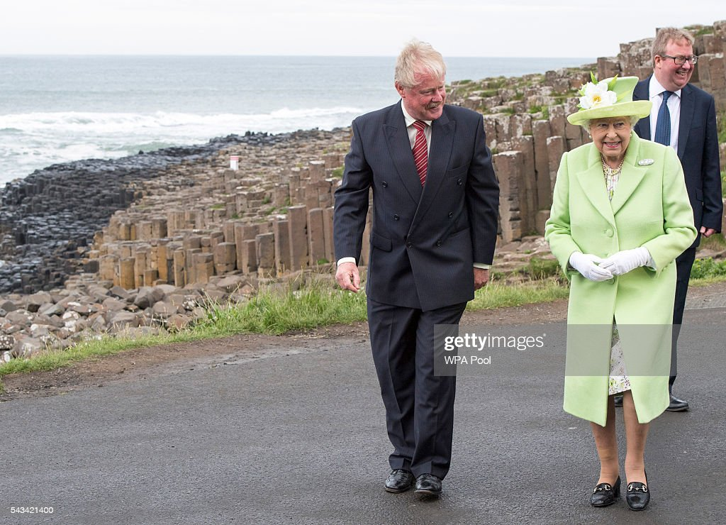 Queen <a gi-track='captionPersonalityLinkClicked' href=/galleries/search?phrase=Elizabeth+II&family=editorial&specificpeople=67226 ng-click='$event.stopPropagation()'>Elizabeth II</a> is escorted by Bob Brown from the National Trust of Northern Ireland during a visit to the Giants Causeway on June 28, 2016 in County Antrim, Northern Ireland, United Kingdom.