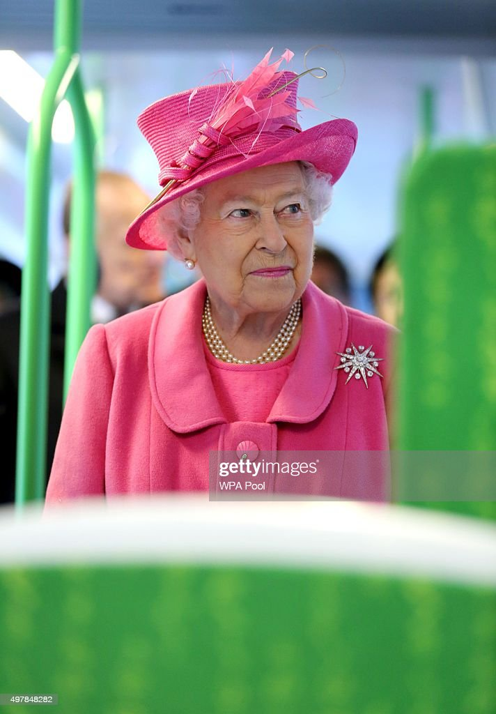 Queen Elizabeth II is given a tour of a tram on the Metroline Tramline Extension on November 19, 2015 in London, England. Queen Elizabeth II was accompanied by the Duke of Edinburgh to officially open the refurbished New Street Station following its 750 GBP million-pound refurbishment. The five-year renovation of Birmingham New Street Station now houses an enlarged passenger concourse, which accommodates the 170,000 travellers . The Queen also placed a wreath on the Pals War Memorial to railway workers.