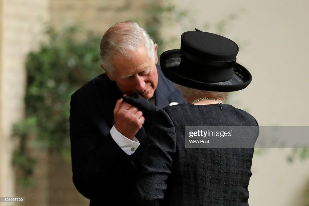 Queen Elizabeth II is greeted by her son Prince Charles, Prince of Wales as she arrives at the funeral service of Patricia Knatchbull, Countess Mountbatten of Burma at St Paul's Church in Knightsbridge on June 27, 2017 in London, United Kingdom.
