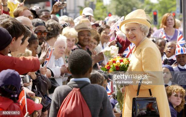 Queen Elizabeth II is greeted by large Crowds in Catford southeast Londonduring her Golden Jubilee visit today to south London