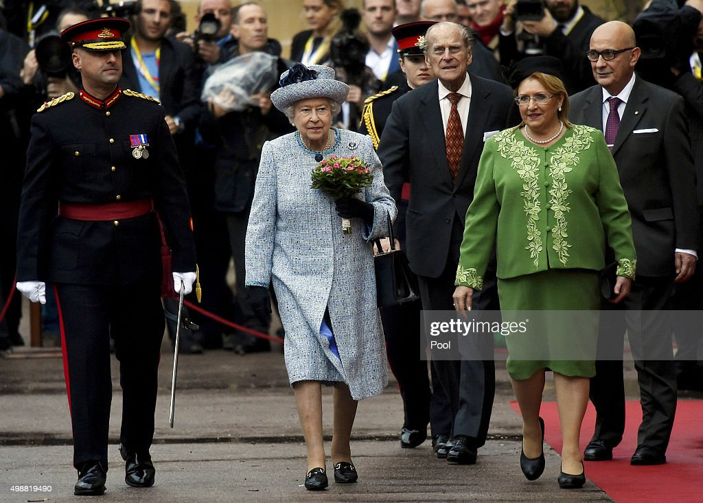 Queen Elizabeth II is greeted by Maltese President Marie Louise Coleiro as she arrives at San Anton Palace in Attard for the Commonwealth Heads of State Summit on November 26, 2015 in Valletta, Malta.