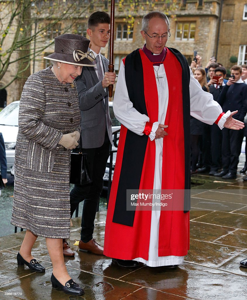Queen Elizabeth II is greeted by The Most Reverend Justin Welby, Archbishop of Canterbury as she attends the Inauguration of the Tenth General Synod of the Church of England at Church House on November 24, 2015 in London, England.