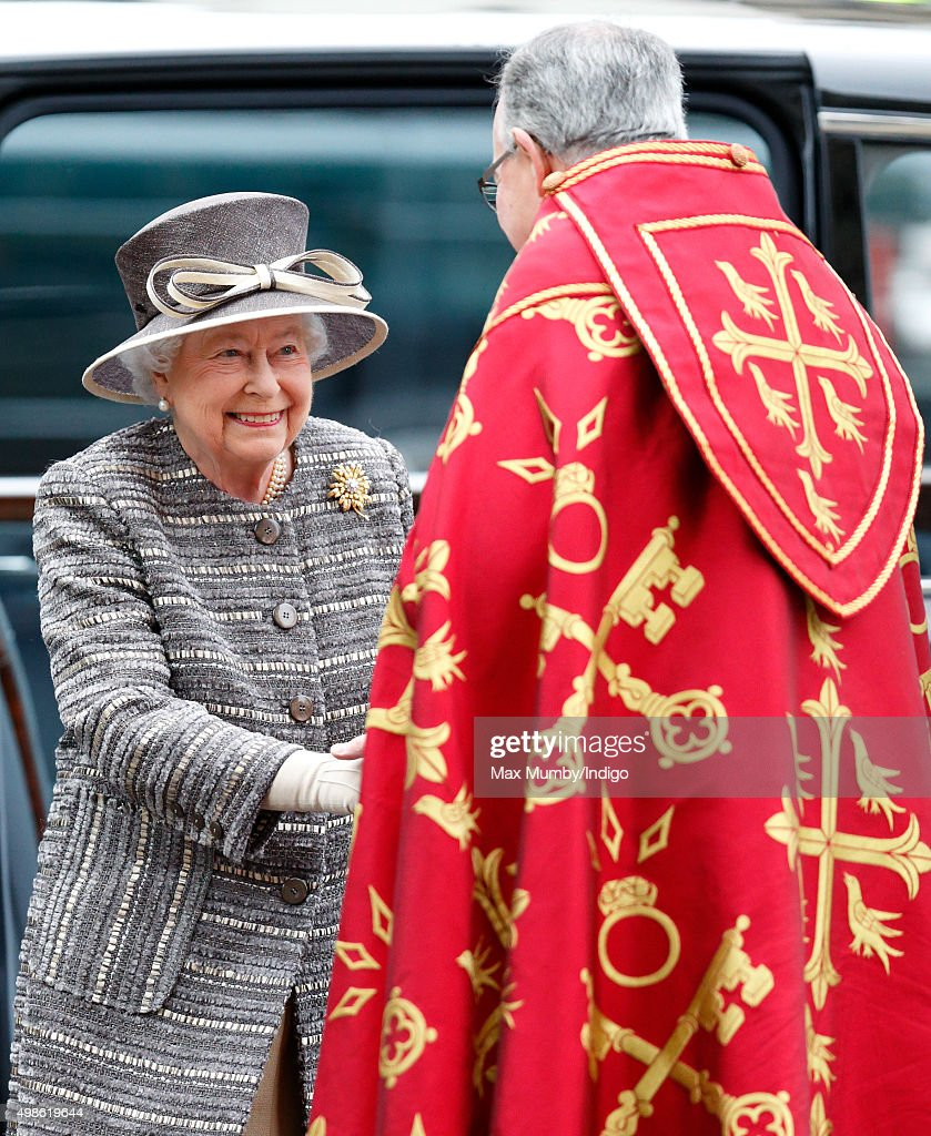 Queen Elizabeth II is greeted by The Very Reverend Dr John Hall, Dean of Westminster as she attends a service to mark the Inauguration of the Tenth General Synod of the Church of England at Westminster Abbey on November 24, 2015 in London, England.