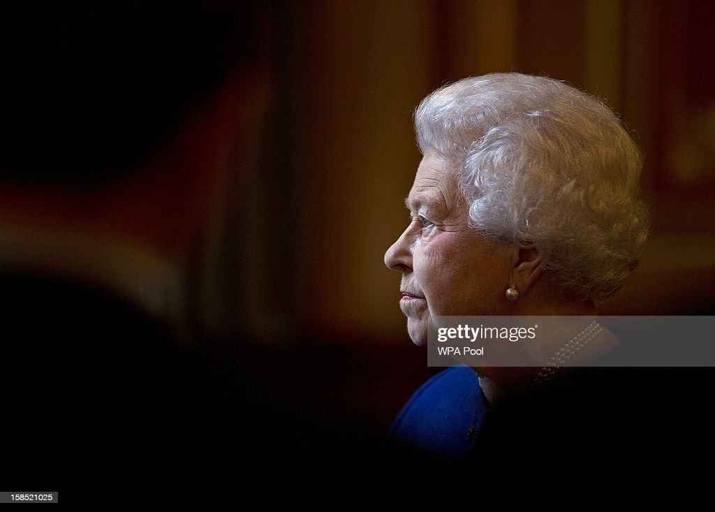 Queen <a gi-track='captionPersonalityLinkClicked' href=/galleries/search?phrase=Elizabeth+II&family=editorial&specificpeople=67226 ng-click='$event.stopPropagation()'>Elizabeth II</a> is seen during her tour of The Foreign and Commonwealth Office during an official visit which is part of her Jubilee celebrations on December 18, 2012 in London, England.