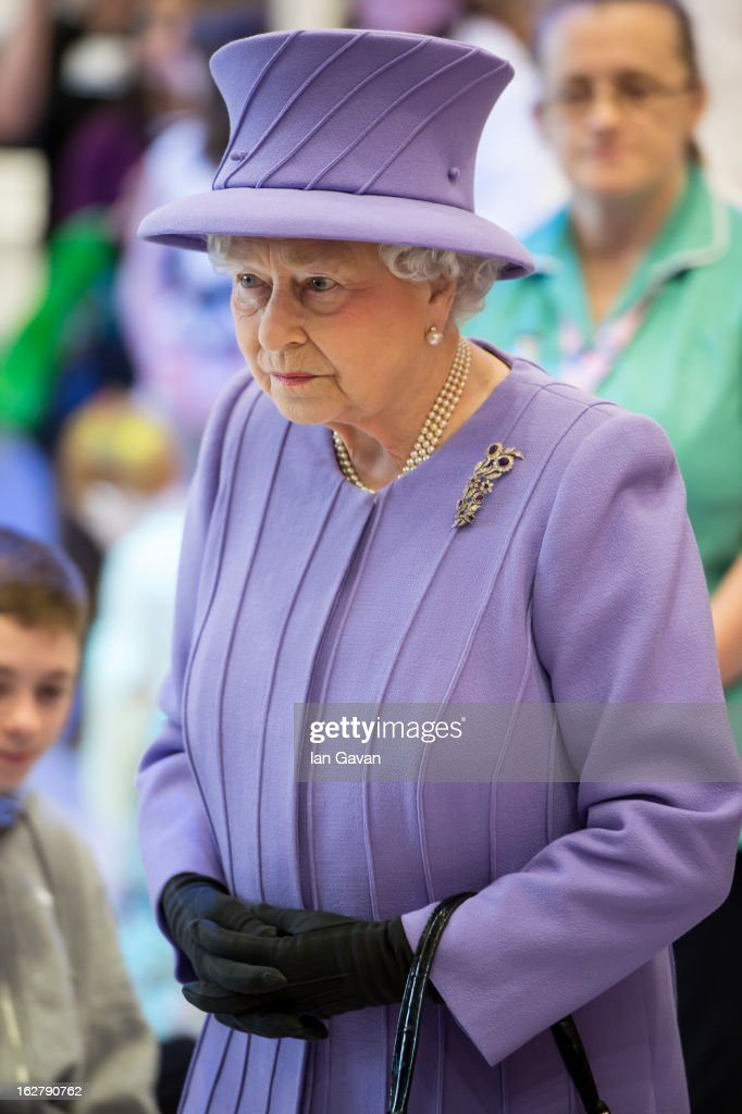 Queen Elizabeth II is seen during her tour to open the new Royal London Hospital building and the new National Centre for Bowel Research and Surgical Innovation on February 27, 2013 in London, England.