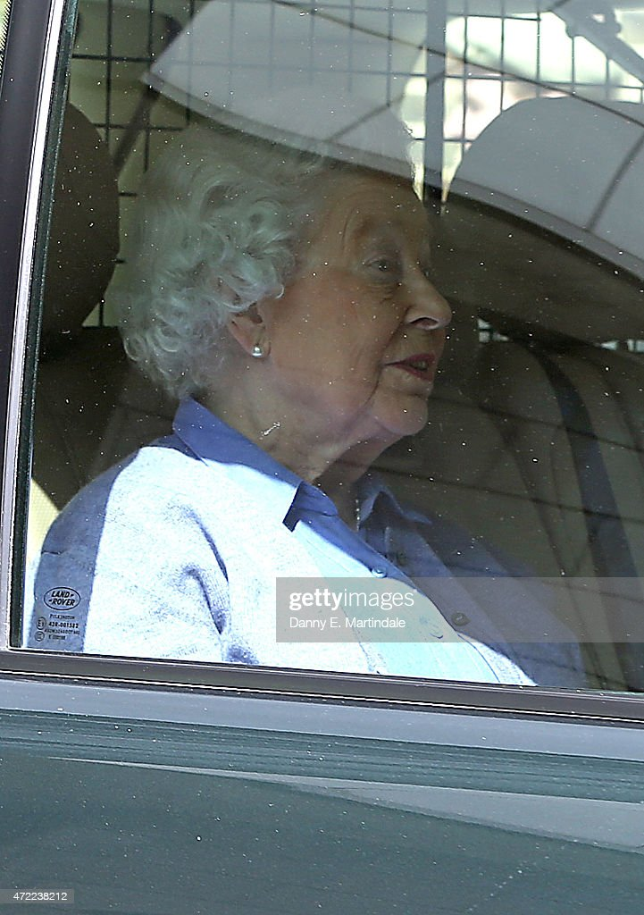Queen Elizabeth II is seen leaving Kensington Palace after visiting her newborn Great Granddaughter Princess Charlotte of Cambridge at Kensington Palace on May 5, 2015 in London, England. The Duke & Duchess of Cambridge's daughter was born at 8:34am on May 2, 2015, weighing 8lbs 3 oz and is fourth in line to the throne.