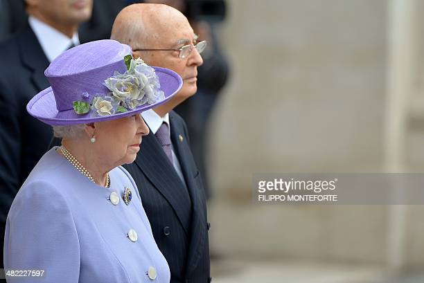 Queen Elizabeth II is welcomed by Italian President Giorgio Napolitano upon her arrival at the Quirinale palace in Rome for an official visit on...