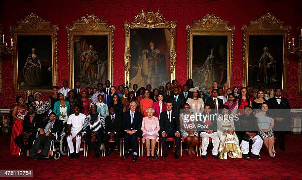 Queen Elizabeth II joins Young Leaders from across the Commonwealth at Buckingham Palace Alain Nteff Samuel Karuita Karuna Rana Isaiah Owolabi...