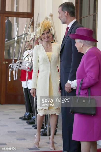 Queen Elizabeth II King Felipe VI and Queen Letizia of Spain arrive at Buckingham Palace on July 12 2017 in London England This is the first state...