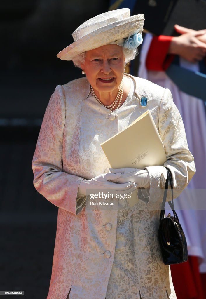 Queen Elizabeth II leaves a service of celebration to mark the 60th anniversary of the Coronation Queen Elizabeth II at Westminster Abbey on June 4, 2013 in London, England. The Queen's Coronation took place on June 2, 1953 after a period of mourning for her father King George VI, following her ascension to the throne on February 6, 1952. The event 60 years ago was the first time a coronation was televised for the public.