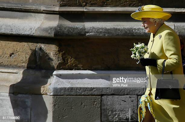 Queen Elizabeth II leaves after attending the Easter Mattins service at St George's Chapel Windsor Castle on March 27 2016 in Windsor England